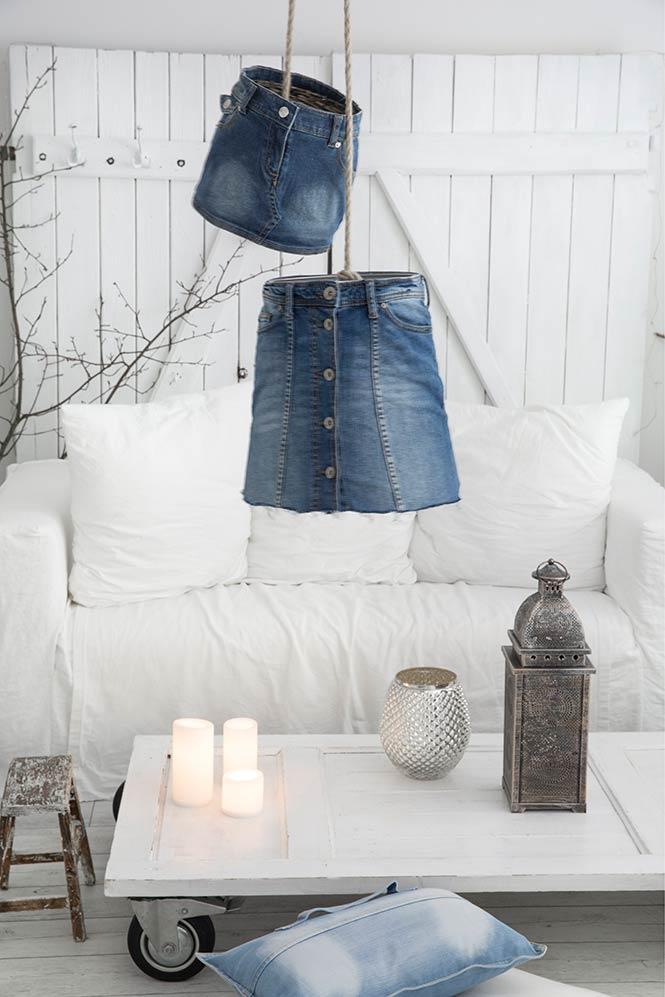 Lampe aus Jeansrock
