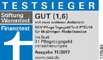 Gütesiegel, Stiftung Warentest, Finanztest: Gut (1,6), Testsieger